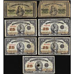 Lot of (7) Assorted Date Twenty-Five Cents Dominion of Canada Notes