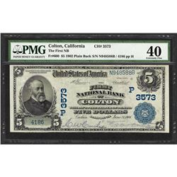 1902 PB $5 First NB of Colton, CA CH# 3573 National Currency Note PMG Extremely Fine 40