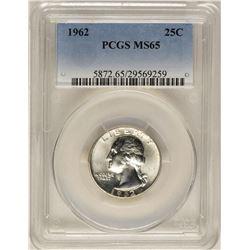 1962 Washington Quarter Coin PCGS MS65