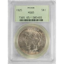 1925 $1 Peace Silver Dollar Coin PCGS MS65 Old Green Holder