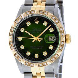 Rolex Mens Two Tone 14K Green Vignette Pyramid Diamond 36MM Datejust Wristwatch