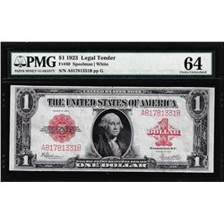 1923 $1 Legal Tender Note Fr.40 PMG Choice Uncirculated 64
