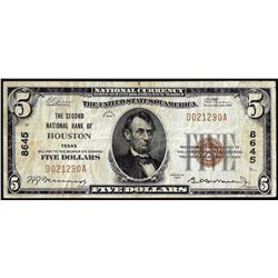 1929 $5 Second National Bank of Houston, Texas CH# 8645 National Currency Note