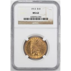 1913 $10 Indian Head Eagle Gold Coin NGC MS62