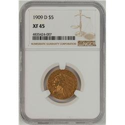 1909-D $5 Liberty Head Half Eagle Gold Coin NGC XF45