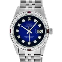 Rolex Mens SS Blue Vignette Diamond & Ruby Channel Set Diamond Datejust Wristwatch