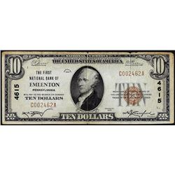1929 $10 First NB of Emilenton, PA CH# 4615 National Currency Note