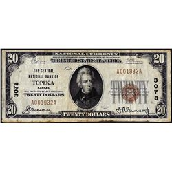 1929 $20 The Central National Bank of Topeka, Kansas CH# 3078 National Currency Note