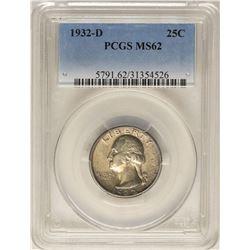1932-D Washington Quarter Coin PCGS MS62