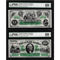 Low Serial Set 1872 $20 & $50 South Carolina Obsolete Notes PMG Superb Gem Unc. 68EPQ