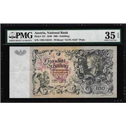 1949 National Bank of Austria 100 Schilling Note Pick# 131 PMG Choice Very Fine 35EPQ