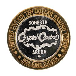 .999 Silver Crystal Casino Aruba $10 Casino Limited Edition Gaming Token