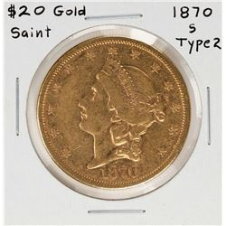 1870-S Type 2 $20 Liberty Head Double Eagle Gold Coin