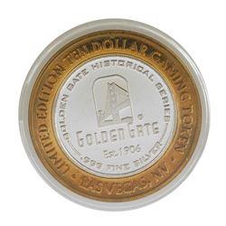 .999 Silver Golden Gate Las Vegas, NV $10 Casino Limited Edition Gaming Token
