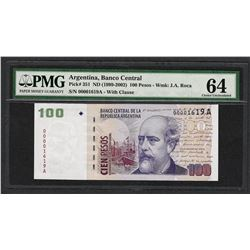 1999-2002 Banco Central Argentina 100 Pesos Note Pick# 351 PMG Choice Uncirculated 64