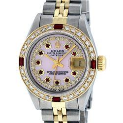 Rolex Ladies Two Tone 14K Pink MOP Diamond & String Ruby Datejust Wristwatch