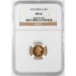 1873 Open 3 $1 Indian Princess Head Gold Dollar Coin NGC MS62