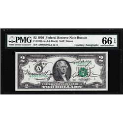 1976 $2 Federal Reserve Note PMG Gem Uncirculated 66EPQ Dual Courtesy Autographs