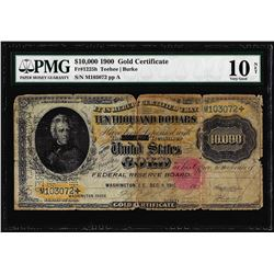 1900 $10,000 Gold Certificate Note Fr.1225h PMG Very Good 10 Net