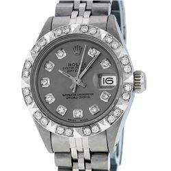 Rolex Ladies Stainless Steel Slate Grey Pyramid Diamond Datejust Wristwatch