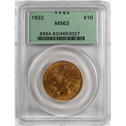 1932 $10 Indian Head Eagle Gold Coin PCGS MS63 OGH