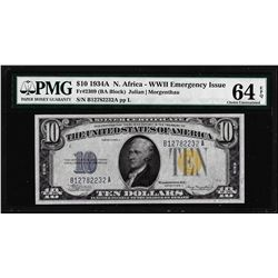 1934A $10 North Africa WWII Emergency Issue Silver Certificate Note PMG Ch. Unc 64EPQ