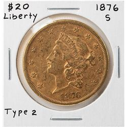 1876-S Liberty Head $20 Double Eagle Gold Coin