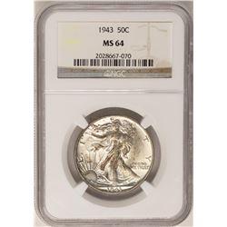 1943 Walking Liberty Half Dollar Coin NGC MS64
