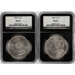 Lot of 1883-O & 1884-O $1 Morgan Silver Dollar Coins NGC MS62