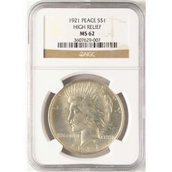 1921 High Relief $1 Peace Silver Dollar Coin NGC MS62