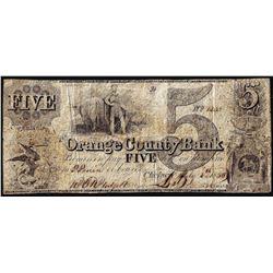1850 $5 Orange County, Vermont Obsolete Bank Note