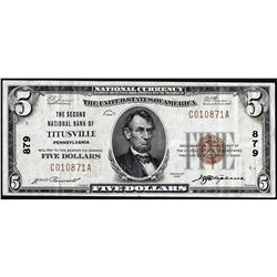 1929 $5 Second NB of Titusville, Pennsylvania CH# 879 National Currency Note