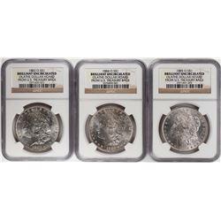 Lot of 1883-O to 1885-O $1 Morgan Silver Dollar Coins NGC Brilliant Uncirculated