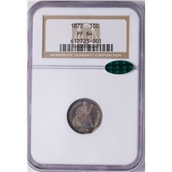 1878 Proof Seated Liberty Dime Coin NGC PF64 CAC Amazing Toning