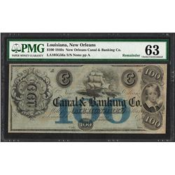 1840's $100 New Orleans Canal & Banking Co. Obsolete Note PMG Choice Uncirculated 63
