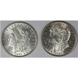 1881 AND 1881-S MORGAN SILVER DOLLARS