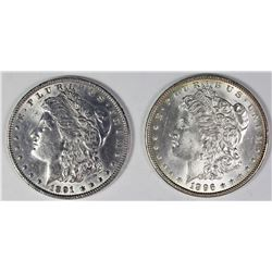1891 AND 1896 MORGAN SILVER DOLLARS