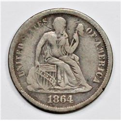 1864-S SEATED DIME