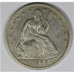 1868-S SEATED HALF DOLLAR