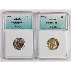 (2) 1938-D BUFFALO NICKELS