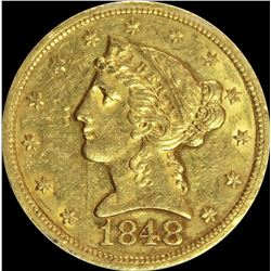 1848 $5.00 GOLD