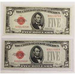 2 PCS. 1928 $5.00 UNITED STATES NOTES