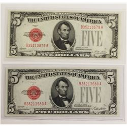 2 PCS. 1928 $5.00 UNITED STATES NOTES