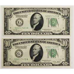 2 PCS. 1928-B $10.00 FEDERAL RESERVE NOTES CHICAGO