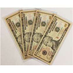 LOT OF 2004 A $10 FEDERAL RESERVE NOTES