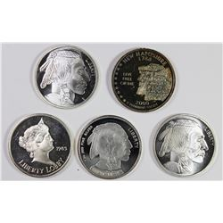 (5) 1 OZ SILVER ROUNDS