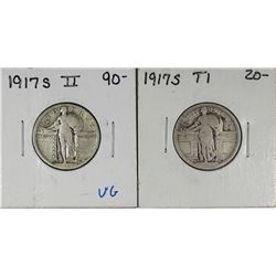 (2)  1917-S STANDING LIBERTY QUARTERS