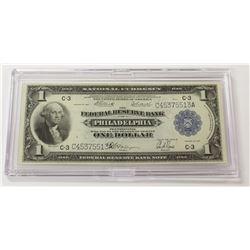 1918 $1.00 PHILADELPHIA FEDERAL RESERVE NOTE