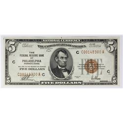 1929 $5.00 FEDERAL RESERVE BANK PHILADELPHIA