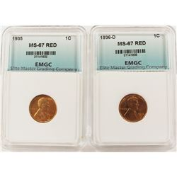 1936-D AND 1935 LINCOLN CENTS